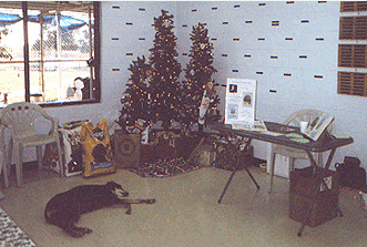 Lobby decorated with tree and dog