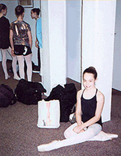 Caitlin waiting for a class to begin